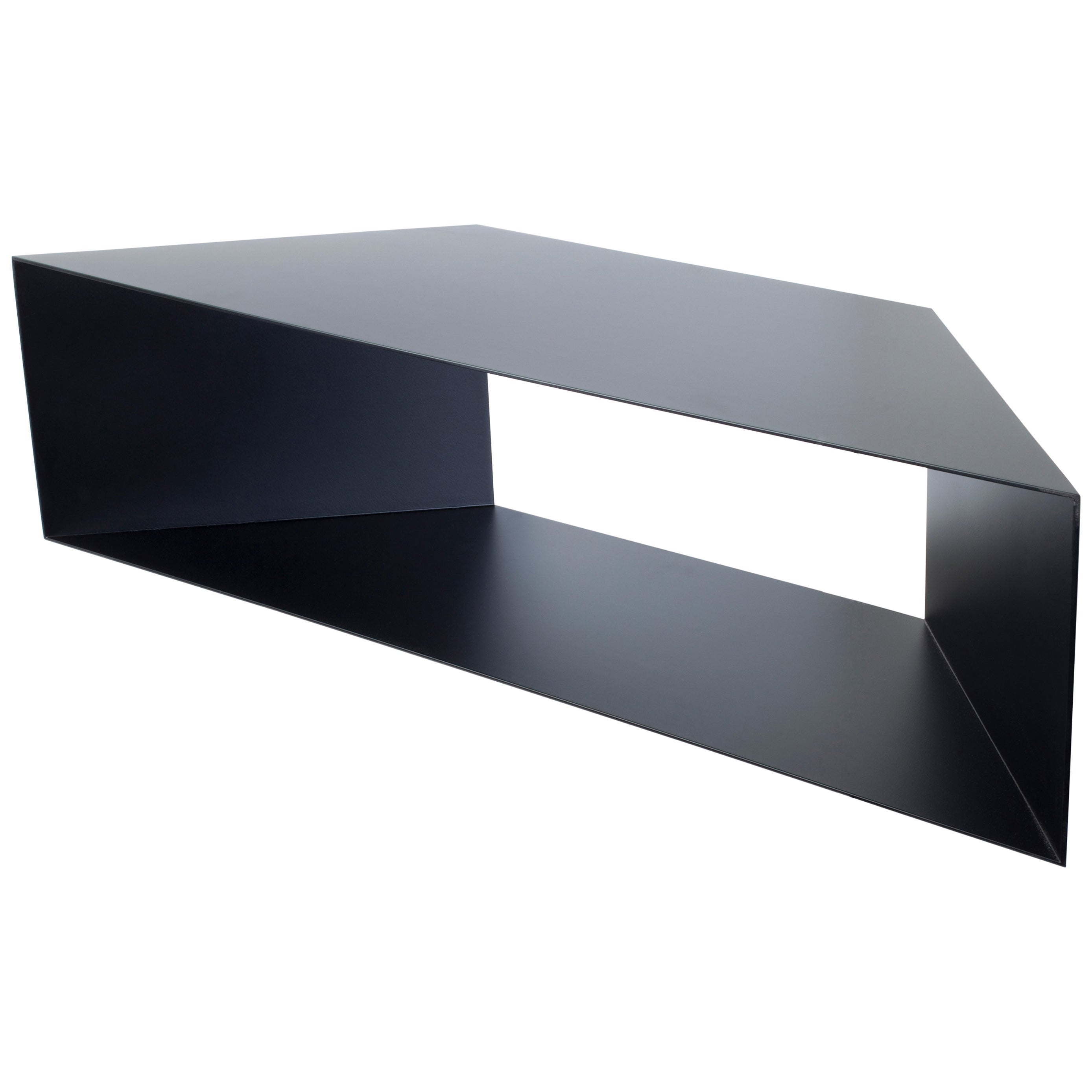 Contemporary Minimal Sculptural Metal Black Corner Shelf, USA, in Stock