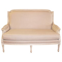 Louis XVI Style Painted Settee, Canape, Newly Upholstered in Grey Belgium Linen