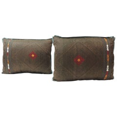 Pair of Vintage Brown and Orange Tribal Woven Silk Bolster Decorative Pillows