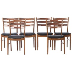 Danish Modern Notched Ladder-Back Dining Chairs