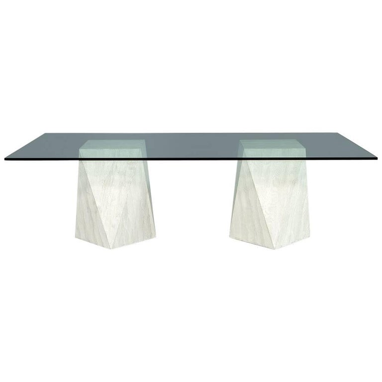 Custom Modern Geometric Pedestals Glass Top Dining Table by Carrocel