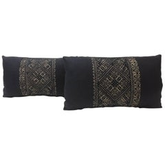 Pair of 19th Century Woven Black Fez Textile Lumbar Decorative Pillows