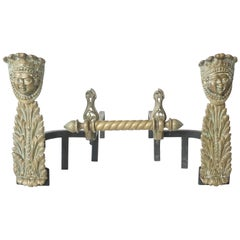 Napoleon III Bronze and Iron Andirons, France, circa 1860