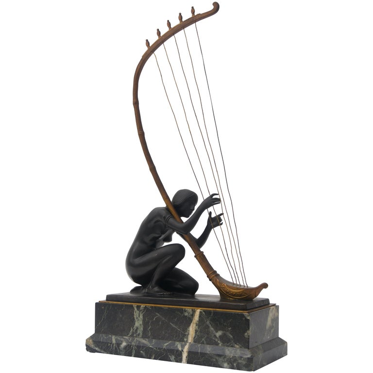 Art Nouveau Bronze Sculpture by Hans Muller For Sale