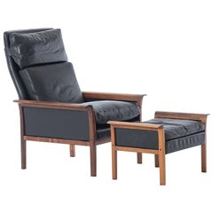 Danish Modern High-Back Lounge with Ottoman