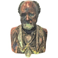 Weathered and Partial Paint Bronze Bust of a Man