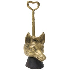 19th Century Cast Brass Fox-Form Door Stop