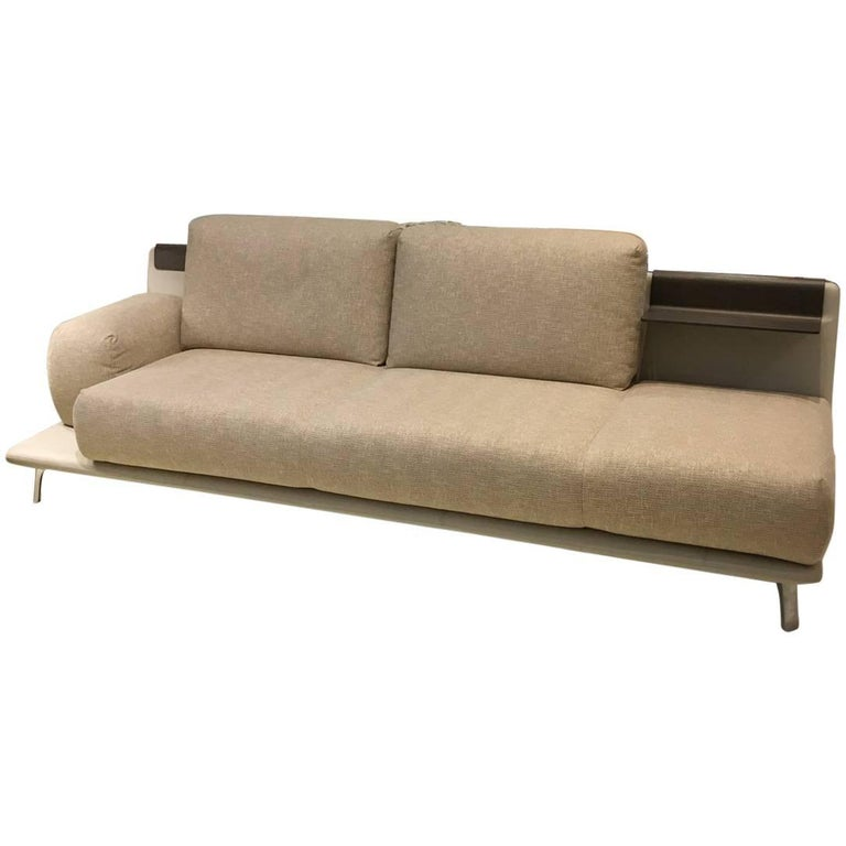 Paleta Asymmetrical Sofa Leather Fabric Combo Polished Aluminum Legs By Leolux For