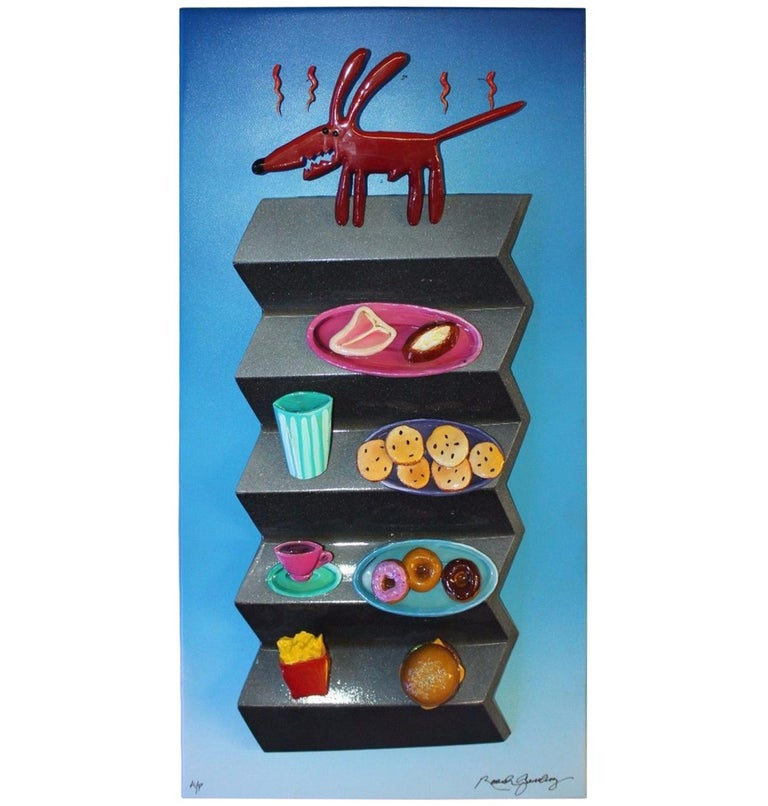 1980s-1990s Hotdog Artwork Mixed-Media on Wood by Roark Gourley
