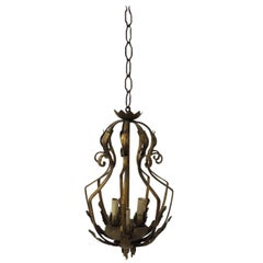 Vintage Iron and Gold Leaf Forged Hanging Lantern