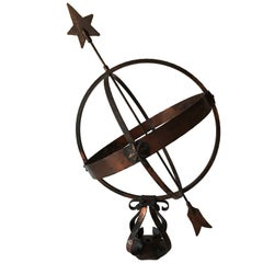 Large Swedish Mid-20th Century Garden Copper Sundial