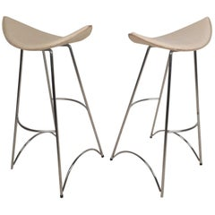 Pair of Midcentury Curved Seat Bar Stools