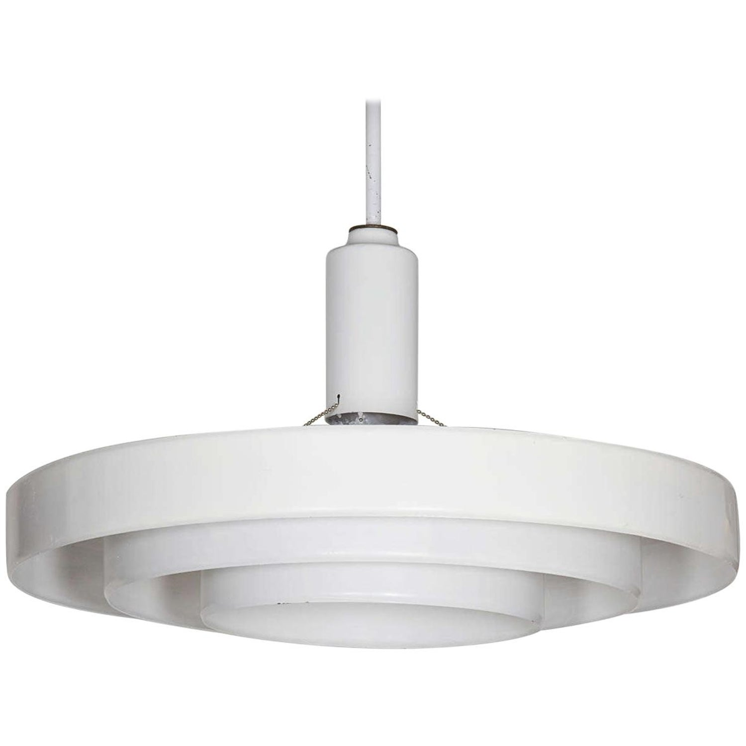 Minimalist white three tier saucer pendant light fixture by prescolite
