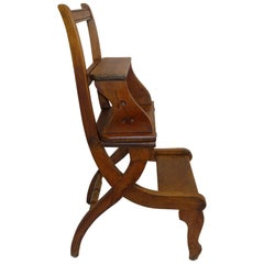 Metamorphic Eastlake Oak Chair Library Steps, American, circa 1870