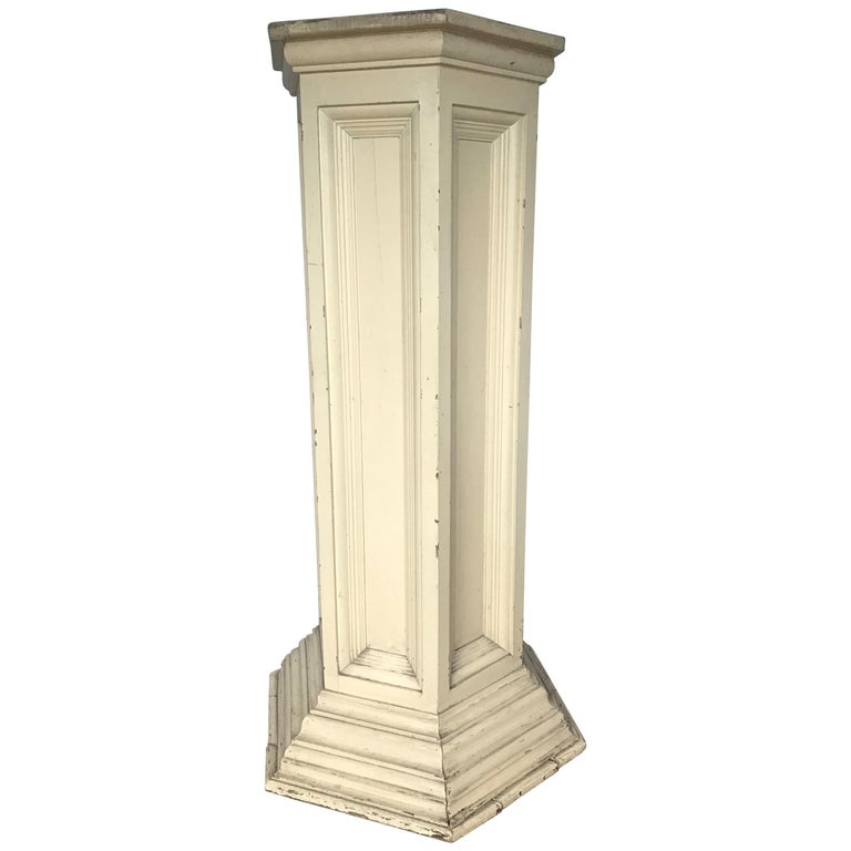 Classical Style and Hand-Painted Antique Wooden Display Stand Column Pedestal