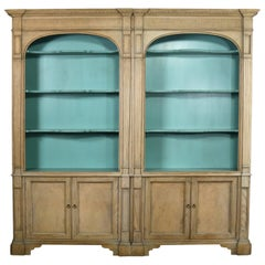 French Style Cerused Bookcases with Turquoise Interior by Baker Furniture
