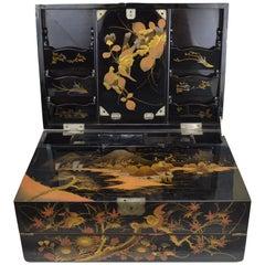 Takamaki Style Japanese Lacquer Wood Writing Cabinet