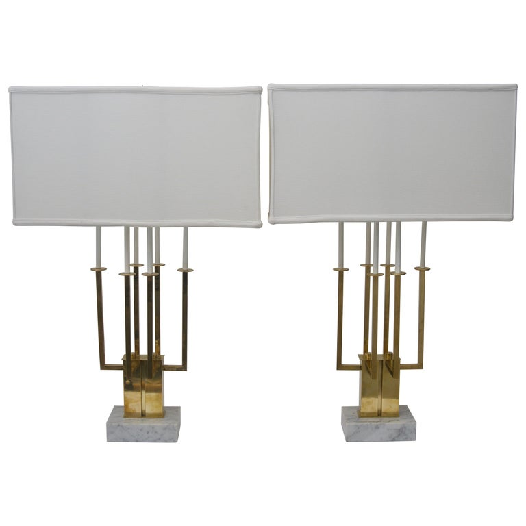 Pair of Large Scale Stiffel Brass and Marble Table Lamps