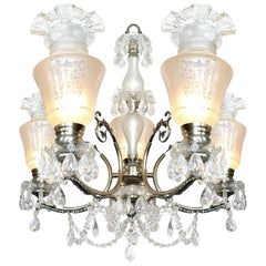 Impressive Large French Regency Empire Cut Crystal Silver Nickel Chandelier