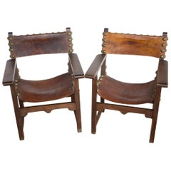 Pair of Antique Spanish Baroque Revival Style Leather Armchairs