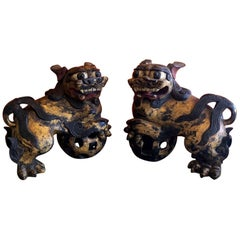 Massive 19th Century Polychrome Hand-Carved Giltwood Chinese Foo Dogs