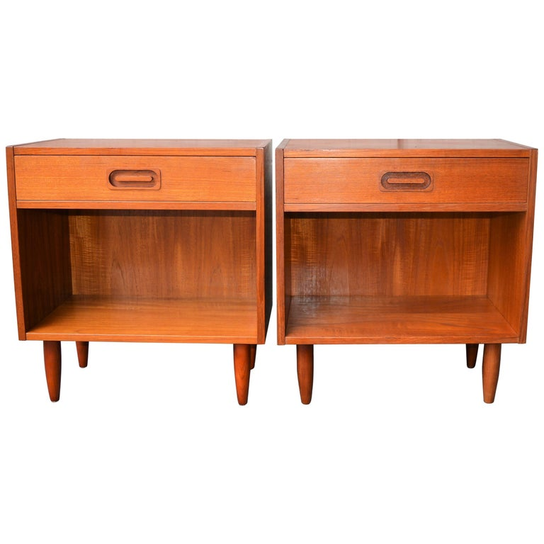 Pair of Danish Teak One Drawer & Cubby Nightstands or Bedside Tables by Dyrlund