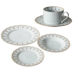 Swid Powell Cup Saucer and Three Plates Postmodern Memphis Milano