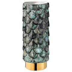 Contemporary Vase Hand Decorated with Malachite, Silver & 24-Karat Gold Enamels