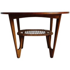 Teak Coffee Table with caned Rack designed by Kurt Østervig