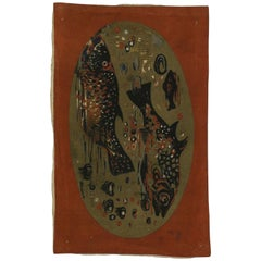 Mid-Century Modern Wall Hanging of Fishes by André Minaux, Vintage Fish Tapestry