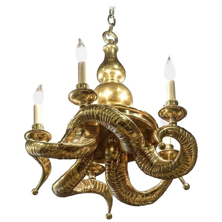 Vintage Solid Brass Ram Horn Chandelier For Sale