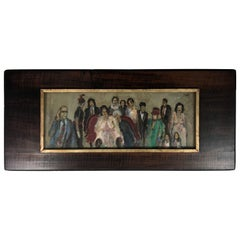 "Joseph R. Eger Oil on Board Folk Art Painting, ""The Wedding"" W N Y Artist"