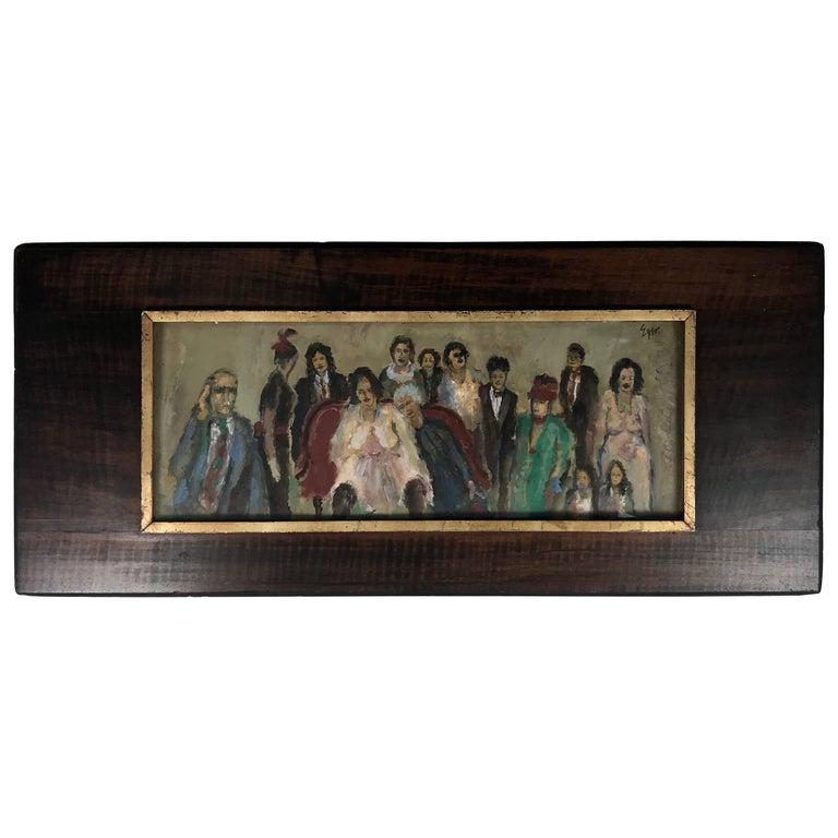 """Joseph R. Eger Oil on Board Folk Art Painting, """"The Wedding"""" W N Y Artist"""