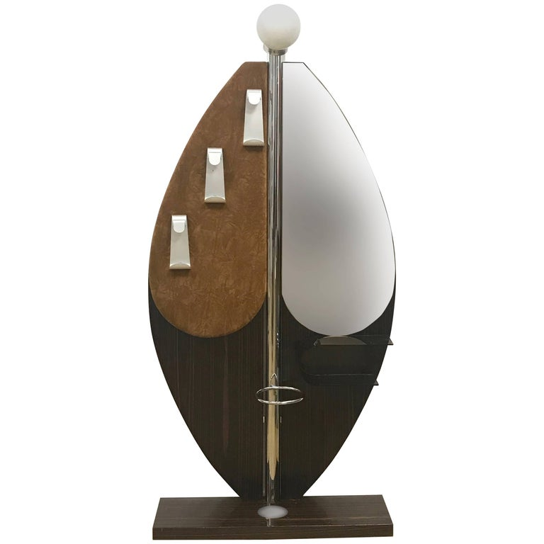 Willy Rizzo Style, Hanger with Light and Mirror, Umbrella Stand, Italy, 1970s