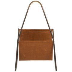 Authentic Brass and Leather Midcentury Magazine Rack by Carl Auböck