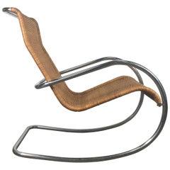 Italian Tubular Chrome and Wicker Rocking Chair, Bauhaus Style