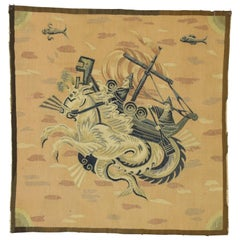 Antique French Aubusson Tapestry, Hippocampus Greek Mythological Wall Hanging