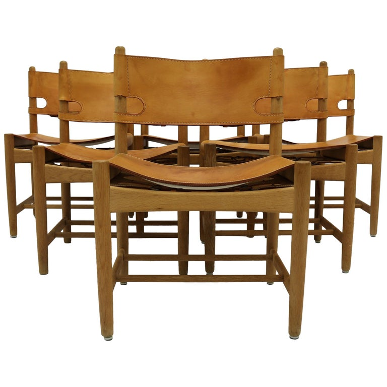 Børge Mogensen Set of Six Oak and Leather Dining Chairs, BM 3237, 1960s