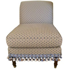 Quintessentially Sublime Slipper Chair Dressed Up in Pierre Frey Upholstery