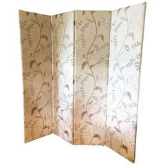 Luxurious Tall Custom Screen Upholstered in Pierre Frey Serenite Linen