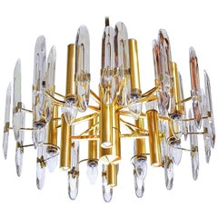 Sciolari Gold Brass Lucite Mid-century Chandelier 12 Lights Stilkronen  1970s