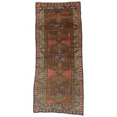 Antique Caucasian Kazak Rug with Tribal Style, Wide Hallway Runner