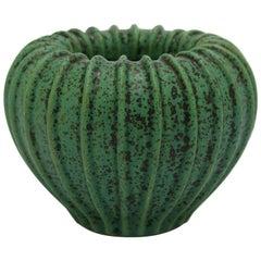 Arne Bang Green Ribbed Stoneware Vase Model No. 3, 1930s
