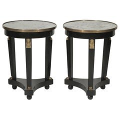 Pair of Hollywood Regency Ebonized Mirror Top Side Tables