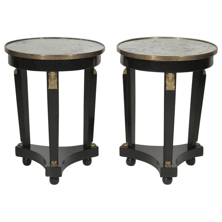 Pair of Hollywood Regency Ebonized Mirror Top Side Tables For Sale