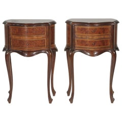 Pair of Nearly Matched Continental Two-Drawer Walnut Side Tables