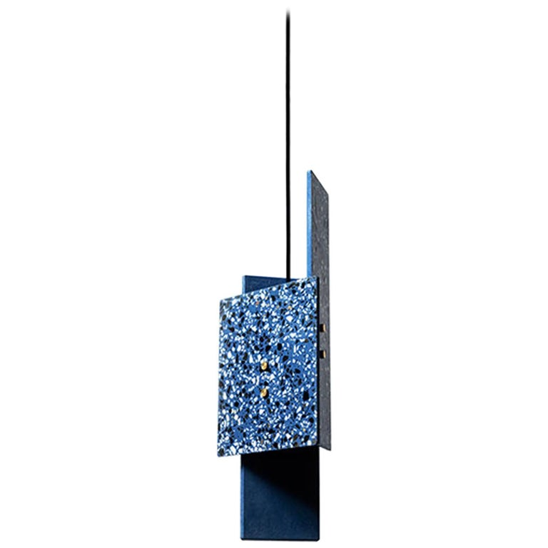 'Piece' Pendant Lamp, Blue Terrazzo