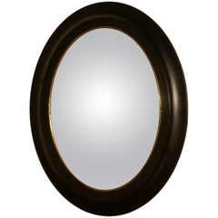 Regency Style Ebonized Convex Oval Wall Mirror