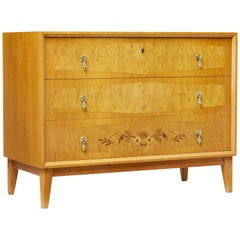 20th Century Scandinavian Modern Inlaid Elm Chest of Drawers