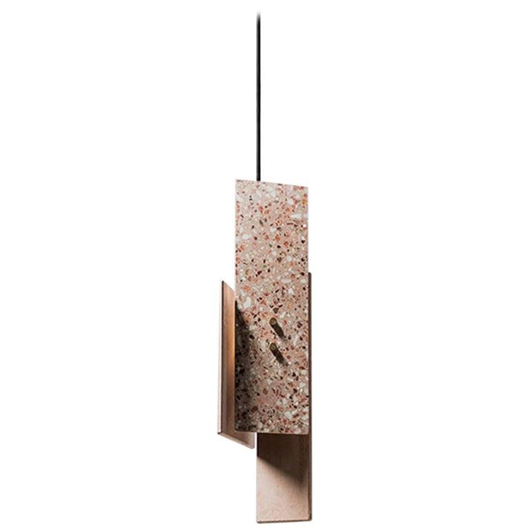 'Piece' Pendant Lamp, Red Terrazzo